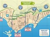 Evakuační plán chilského města Iquique pro případ přílivové vlny tsunami.