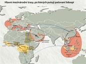 Hlavní cesty, po kterých putují pašovaní lidoopi.