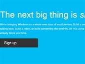 Snímek z titulní stránky webu Windows on devices