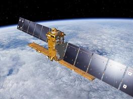 Sentinel 1A na oběžné dráze (vizualizace)
