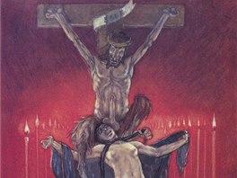 Félicien Rops: Kalvárie, 1882, heliogravura (z cyklu Satanské)