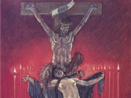F�licien Rops: Kalv�rie, 1882, heliogravura (z cyklu Satansk�)