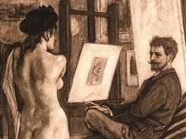 F�licien Rops: Rops ve sv�m ateli�ru s modelem, kresba