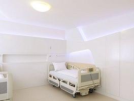 """Pokoje pro pacienty - právě zde si architekt """"vyhrál"""" se světelnými okruhy, aby"""