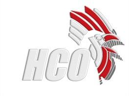 Bílo-červený znak olomouckých hokejistů s nápisem HCO a kohoutí hlavou.