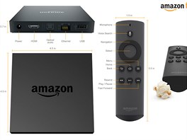 Nov� set-top box Amazon Fire TV i s d�lkov�m ovlada�em, kter� se p�ipoj� p�ed...