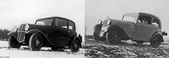 Vlevo Škoda 420 Standard, vpravo Škoda 418 Popular. Menší Popular měl na první pohled esteticky vytříbenější karoserii, než první vozy typu Standard. Vidět to je na liniích masky chladiče, žebrování na kapotě, čelního skla a předních dveří, které u Popularu dodržují z bočního pohledu vyváženou rovnoběžnost.