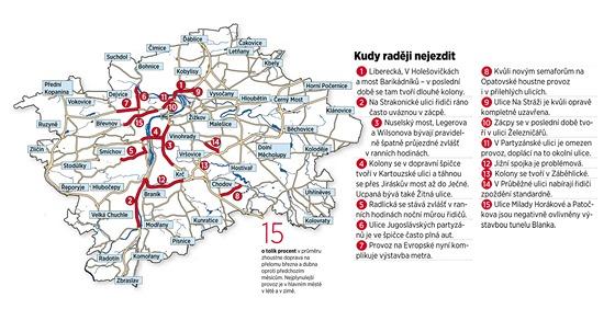 MAPA: Kudy v Praze raději nejezdit.