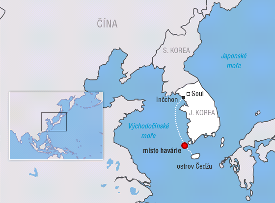MAPA: Trasa jihokorejského trajektu Sewol, který se potopil cestou z Inčchonu