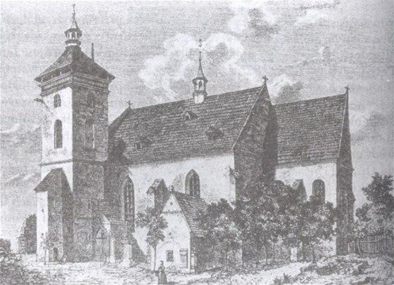Kostel sv. Jana K�titele ve Dvo�e Kr�lov�, m�sto n�lezu Rukopisu