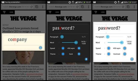 Aplikace Speed Reading výborně spolupracuje s prohlížečem. Stačí zvolit...