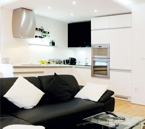 Velká pohodlná pohovka byla součástí představ majitele o nové podobě bytu.