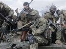 Proruští ozbrojenci ve Slavjansku (16. dubna 2014)