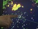 Radar ukazující polohu ztroskotaného trajektu (17.dubna 2014)