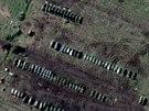 Ruské tanky a obrněná vozidla na základně v jihoruském Yeysku. (22. března 2014)