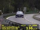 Nejrychlejší vůz za dobu měření dosáhl rychlosti 136km/h.