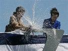 Křest nového amerického torpédoborce třídy Zumwalt