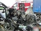 Dopravní nehoda na silnici první třídy číslo 11 v Hradci Králové. (10. 4. 2014)