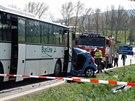 Vážná nehoda autobusu a osobního auta Kia na silnici I/43 poblíž Bořitova na...