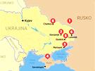 MAPA: Situace na východě Ukrajiny