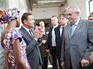 Prezident Miloš Zeman přijel do Broumova. Prohlédl si textilku Vebu, klášter,...