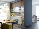 Příčku mezi kuchyní a obývacím pokojem nahradily skříňky.