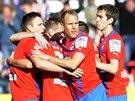 Plzeňští fotbalisté se radují z gólu proti Brnu.