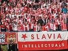 "Fanou�ci Slavie p�ed startem 281. derby pra�sk�ch ""S"""