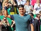 Roger Federer slaví postup do finále na turnaji v Monte Carlu.