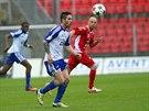 Momentka z fotbalov�ho duelu Znojma a Ban�ku Ostrava (�erven�)