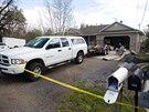 Dům, ve kterém Megan Huntsmanová dříve žila. V jeho garáži se našlo sedm těl...