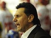 Kou� hokejové reprezentace Vladimír R�i�ka udílí pokyny v duelu s Dánskem.