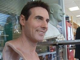Hlava voskové figuríny desetibojaře Romana Šebrleho, která bude v pražském