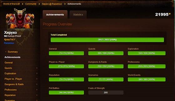 Profil hráče, který ve World of Warcraft získal všechny úspěchy.