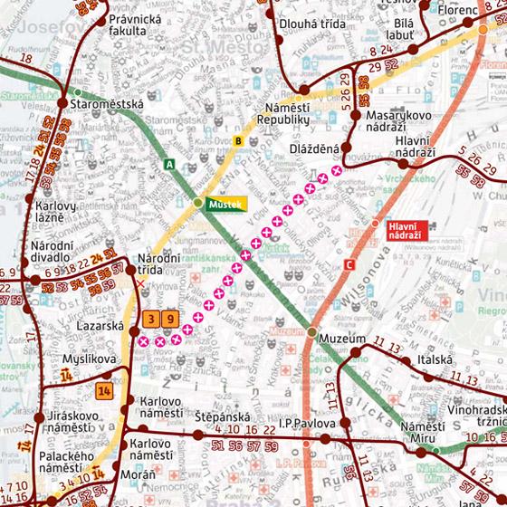 Objízdné trasy dvouměsíční výluky tramvají v úseku Lazarská - Jindřišská