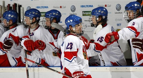 Gólová radost českých hokejistů do 18 let na mistrovství světa.