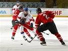 Semifinále hokejového mistrovství světa do 18 let Česko (bílá) vs. Kanada.