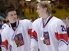 Čeští hokejisté Michael Špaček (vlevo) a Filip Chlapík po prohraném finále