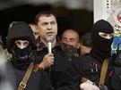 Samozvaný gubernátor východoukrajinského regionu Luhansk Valerij Bolotov hovoří...