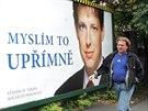 """Předvolební billboard ČSSD s citátem Stanislava Grosse """"Myslím to upřímně"""" (srpen 2004)"""