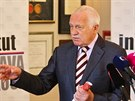 Exprezident Václav Klaus na brífinku k desátému výročí vstupu Česka do Evropské...
