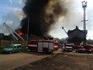 Požár bývalé galvanovny v Lanškrouně. (20. dubna 2014)