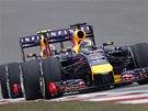 RED BULLY V AKCI. Sebastian Vettel a Daniel Ricciardo ve Velké ceně Číny
