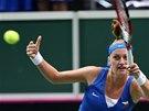 TOHLE MÁM. Petra Kvitová v semifinále Fed Cupu v souboji proti Italkám.