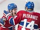 Tom� Plekanec a Brendan Gallagher se raduj� z g�lu Montrealu.