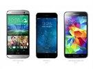 HTC One M8, iPhone 6 a Galaxy S5 (srovnání rozměrů)