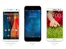 Moto X , iPhone 6 a LG G2 mini (srovnání rozměrů)