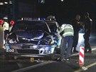Nabouraná policejní auta na dálnici D5