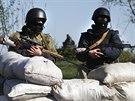 Příslušníci ukrajinské armády hlídkují u kontrolního stanoviště u vesnice Malinovka na východě země (27. dubna 2014)