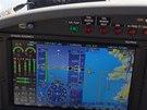 Primární obrazovka při letu do zálivu Ajaccio.